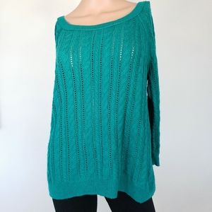 AMERICAN EAGLE🦋Turquoise Cable Knit 3/4 Slv Med